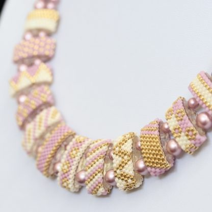 Statement Beaded Necklace in Pink with Carrier Beads