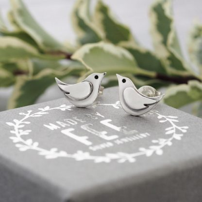 Small Sterling Silver Bird Stud Earrings Artisan Made By Fee