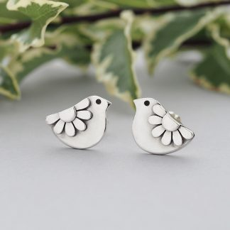 Sterling Silver Daisy Bird Folk Art Stud Earrings