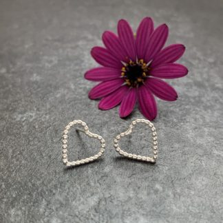 Small heart silver stud earrings