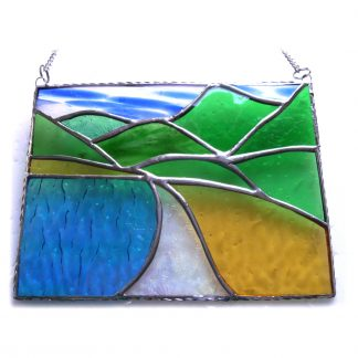 Tropical beach stained glass landscape suncatcher