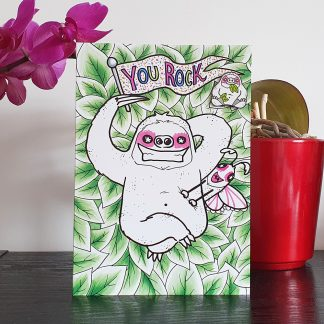 Slothypops the Sloth You Rock Card with limited edition hard enamel sloth pin badge, designed by Mel Langton Art.