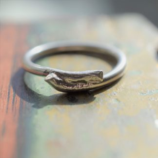 All That Glitters thin molten silver ring