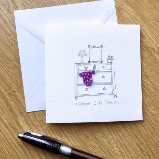 handmade new baby chest of drawers card