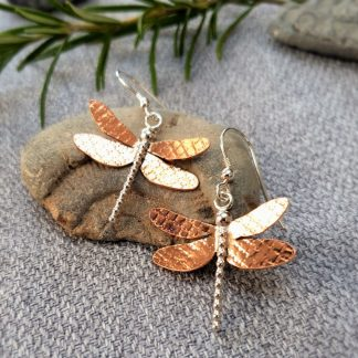 dragonfly earrings with textured copper wings and silver body and head