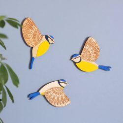 flying wall blue tits wooden birds painted etchablelaserdesign