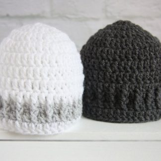 Two Baby Beanie Hats 0 - 3 Months