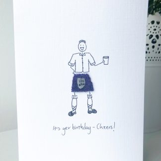 Scottish Kilted man Birthday Card