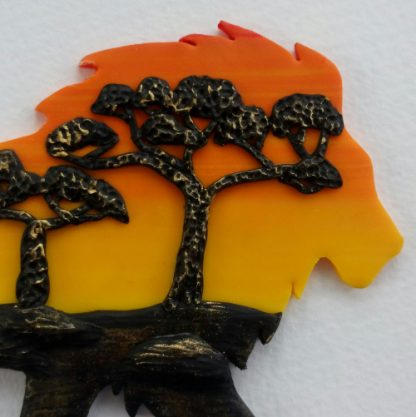 African sunset lion silhouette