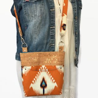 orange canvas and cork crossbody bag