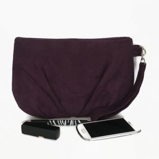 Purple faux suede clutch bag