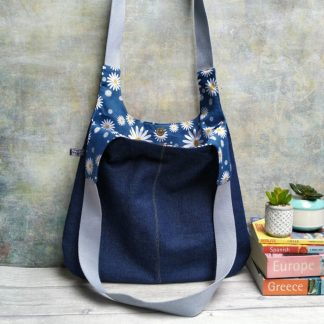 new blue denim hobo bag with daisy print lining