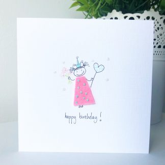 Hand-drawn Personalised Princess Birthday Card