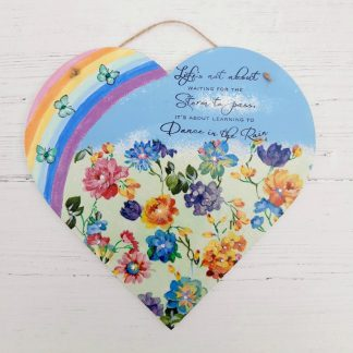 Rainbow dance wooden heart