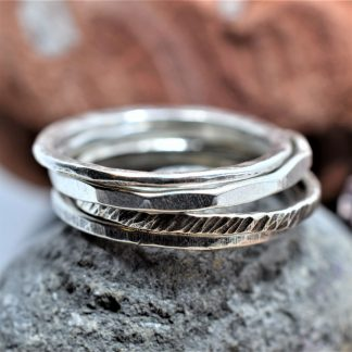 silver textured stacking rings