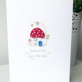 Handmade personalised new home toadstool card
