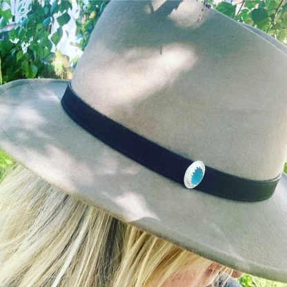turquoise and silver lapel pin