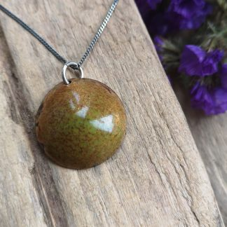 """Handmade by Tamala presents """"Wouldn't it by lovely"""" a gold/green enamelled copper pendant on 16"""" oxidised silver chain. The title for the pendant just popped into my head when I was starting to thinking about it. Sometimes you just have to go with your first instinct."""