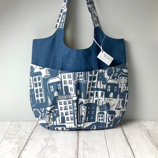 Relaxed Tote - denim and houses