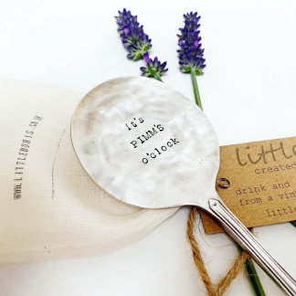 It's pimms o'clock hand stamped spoon
