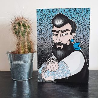 Bearded Biker tattoo style Greetings Card, by Mel Langton Art