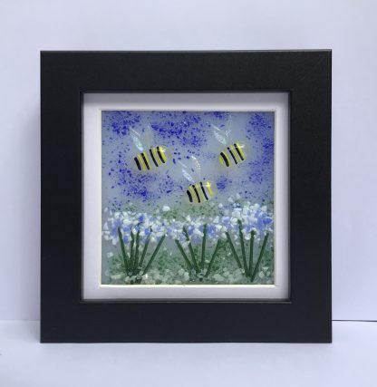 Fused Glass Bees and Flowers Box Frame