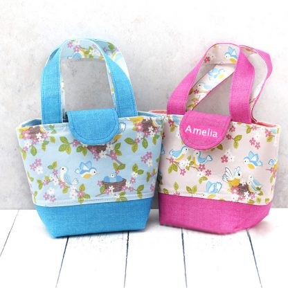Blue and Pink child's toy bags with optional name on flap