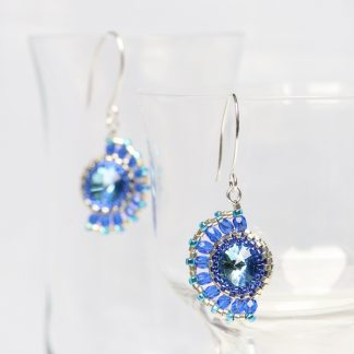 Blue and Turquoise Beaded Half-Moon Earrings