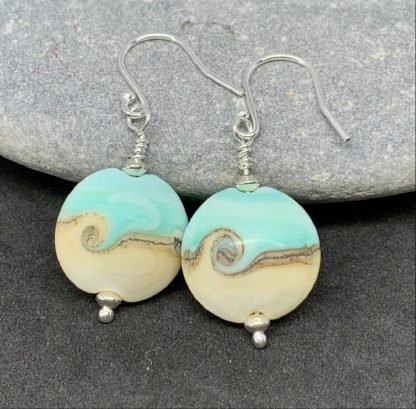 green and ivory earrings