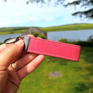 Cerise Cork Leather Keyring