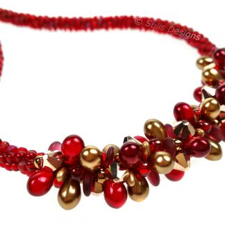 Handcrafted Red and Gold Christmas Belle Swarovski Necklace