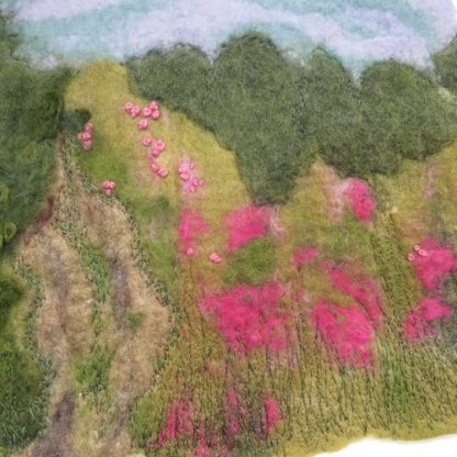 Wildflower Meadow Haven Wet Felt Painting Close Up Details