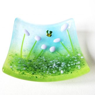 Purple flowers, fused glass trinket bowl, ring dish