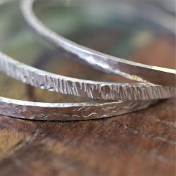 unusual textured silver bangle