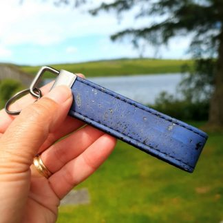 Dark Blue Cork Leather Keyring