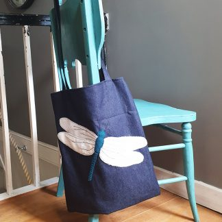 Applique dragonfly on denim tote bag