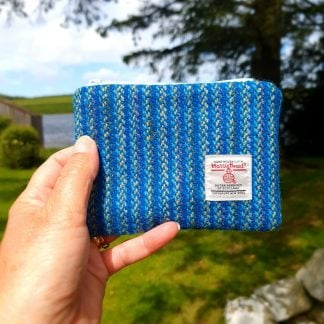 Harris Tweed Coin Purse Blue and Yellow Stripe
