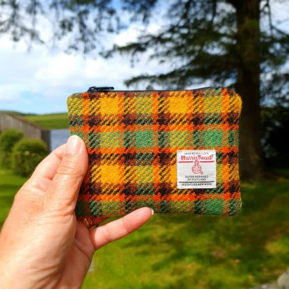 Harris Tweed Purse Yellow, Green, Brown Check