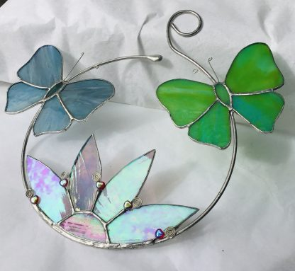 Stained Glass Butterfly hoop with iridescent flower