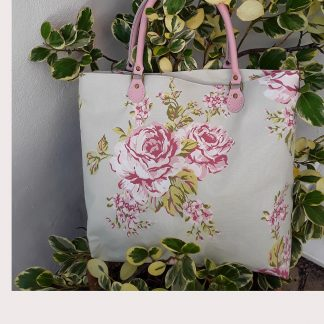 Medium size shopping bag, small handbag, rose design, pink leather handles, zip pocket