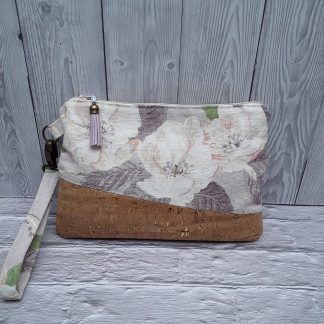 Cork and linen clutch bag., gold flecks in cork, flower design linen, zip fastening, internal card pockets