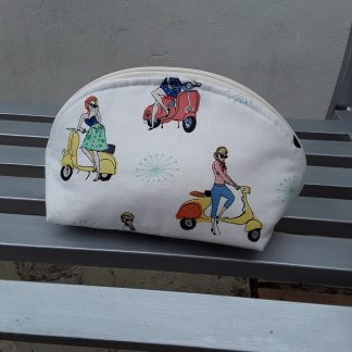 Make up bag, retro mopeds
