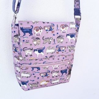 Cross body bag, shoulder bag, cats on pink fabric, zip pocket, adjustable strap