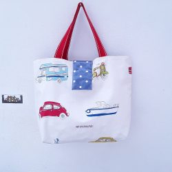 Beach bag, waterproof, boats, cars, planes with denim blue PVC lining