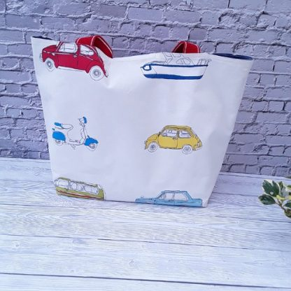 Beach bag, waterproof, boats, planes, cars, with denim blue PVC lining