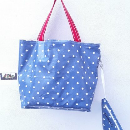 Beach bag, waterproof, boats, planes, cars with denim blue PVC lining