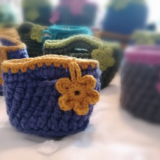 crocheted storage baskets