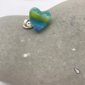 seascape heart pin brooch