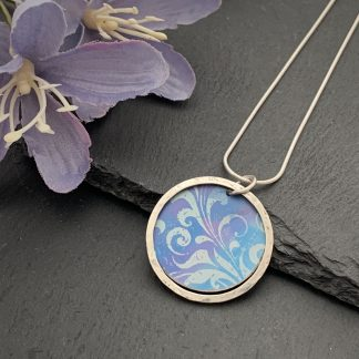 Aqua, lilac and cornflower blue aluminium halo necklace