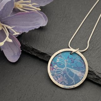 Turquoise blue cow parsley and floral print aluminium and sterling silver necklace